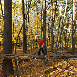 A nine year old boy walk on a downed tree in the forest at Elmwood Farm in Hopkinton, Massachusetts.
