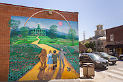 A mural of the the Wizard of Oz painted on the side of a building in the tiny village of Burnsville, North Carolina. Burnsville is the start of the Quilt Trail which honors handmade quilt designs of the rural Appalachian region.