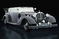 The 1938 Mercedes 770-K limousine was then the car preferred by world leaders. Ferdinand Porsche designed this Mercedes 770-K limousine before he founded his own brand and the leaders of Germany loved it. At the end of the Second World War it was used by American generals. The 1938 Mercedes 770-K limousine consists of several versions. With off-road tyres and even with the rear wheels replaced by tracks.<br /> <br /> This painting of a 1938 Mercedes 300 S Mercedes 770-K limousine can be printed very large on different materials -<br /> <br /> BUY THIS PRINT AT<br /> <br /> FINE ART AMERICA<br /> ENGLISH<br /> https://janke.pixels.com/featured/mercedes-770-k-three-quarter-view-jan-keteleer.html<br /> <br /> WADM / OH MY PRINTS<br /> DUTCH / FRENCH / GERMAN<br /> https://www.werkaandemuur.nl/nl/shopwerk/Mercedes-770-K-drie-kwart-aanzicht/742096/132?mediumId=11&size=75x50<br /> <br /> -
