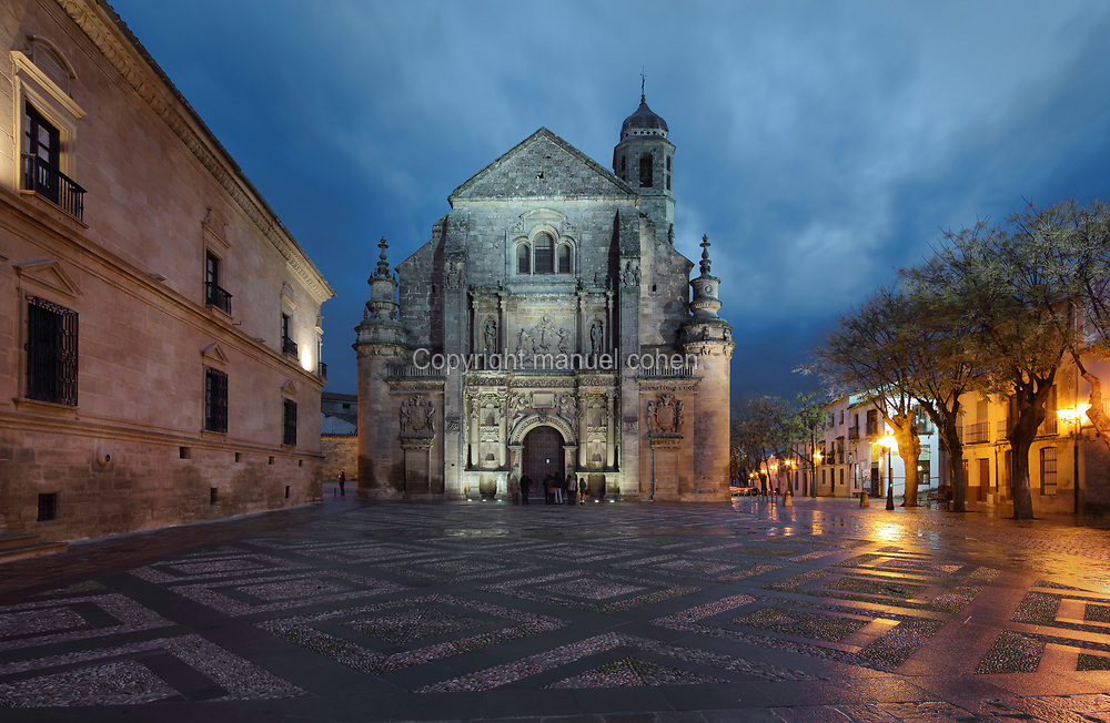 Sacra Capilla del Salvador, or Sacred Chapel of the Saviour, designed by Diego de Siloe and Andres de Vandelvira and built for Francisco de los Cobos in 1536 in Spanish Renaissance style and consecrated in 1559, on the Plaza Vazquez de Molina, in Ubeda, Jaen, Andalusia, Spain. The building serves as a funerary temple, with a central crypt, and a single tower topped with an onion dome. To the left is the Parador of the Condestable Davalos, former palace of Dean Ortega. The Renaissance buildings of Ubeda and Baeza are listed as a UNESCO World Heritage Site. Picture by Manuel Cohen