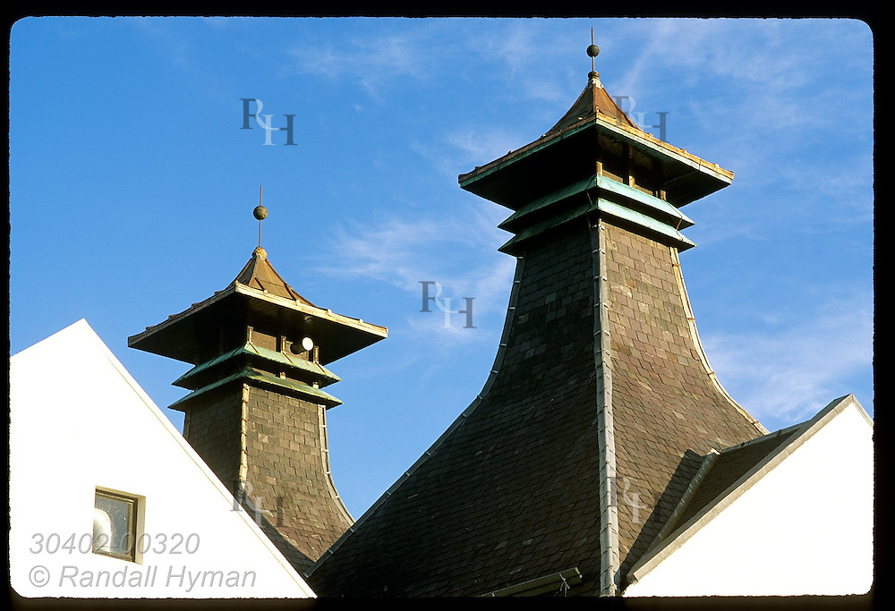 Pagoda chimneys, from time when barley was malted on site, are ornamental;Dalwhinnie Distillery Scotland