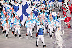 PYEONGCHANG-GUN, SOUTH KOREA - FEBRUARY 09: Flag bearer Janne Ahonen of Finland and teammates arrive  during the Opening Ceremony of the PyeongChang 2018 Winter Olympic Games at PyeongChang Olympic Stadium on February 9, 2018 in Pyeongchang-gun, South Korea. Photo by Kim Jong-man / Sportida