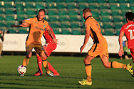 Sean Rigg of Newport county in action. EFL cup, 1st round match, Newport county v Milton Keynes Dons at Rodney Parade in Newport, South Wales on Tuesday 9th August 2016.<br /> pic by Andrew Orchard, Andrew Orchard sports photography.