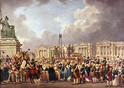 An Execution by Guillotine in Paris during the French Revolution. Pierre Antoine De Machy (c1722-1807) French painter. Carnavalet, Paris.
