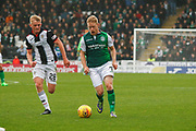 Daryl Horgan of Hibernian FC runs by Cameron MacPherson of St Mirren during the Ladbrokes Scottish Premiership match between St Mirren and Hibernian at the Simple Digital Arena, Paisley, Scotland on 29th September 2018.