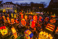 Painted lanterns on display at Munsterplatz, Basel Fasnacht (Carnival), Basel, Switzerland.