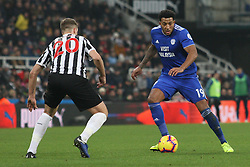 January 19, 2019 - Newcastle, England, United Kingdom - Cardiff City's Nathaniel Mendez-Laing contests for the ball with Newcastle United's Florian Lejeune during the Premier League match between Newcastle United and Cardiff City at St. James's Park, Newcastle on Saturday 19th January 2019. (Credit Image: © Mark Fletcher/NurPhoto via ZUMA Press)