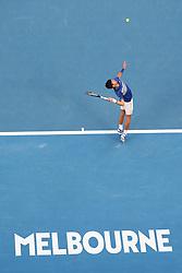 MELBOURNE, Jan. 27, 2019  Novak Djokovic of Serbia serves during the men's singles final match between Novak Djokovic of Serbia and Rafael Nadal of Spain at 2019 Australian Open in Melbourne, Australia, Jan. 27, 2019. (Credit Image: © Lui Siu Wai/Xinhua via ZUMA Wire)