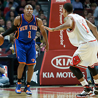 17 December 2009: New York Knicks guard Chris Duhon brings the ball upcourt during the Chicago Bulls 98-89 victory over the New York Knicks at the United Center, in Chicago, Illinois, USA.