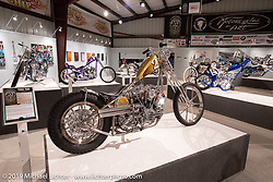 Brian Buttera's Take Two is a custom 1955 Panhead Chopper inspired by Brian's days of racing BMX. On view in the What's the Skinny Exhibition (2019 iteration of the Motorcycles as Art annual series) at the Sturgis Buffalo Chip during the Sturgis Black Hills Motorcycle Rally. SD, USA. Friday, August 9, 2019. Photography ©2019 Michael Lichter.