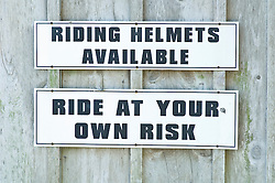 warning signs for helmets and riding