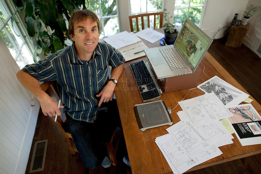 FAIRFAX - APRIL 24:  Mark Fiore, San Francisco Bay area political cartoonist and winner of the 2010 Pulitzer Prize for editorial cartooning at his home on April 24, 2010 in Fairfax, California.  Photograph by David Paul Morris