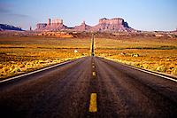 U. S. Route 163 approaching Monument Valley, Utah/Arizona border USA