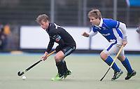UTRECHT- Hockey -  Floris van der Linden van HGC met speler en assistent coach Roderick Weusthof (r)  van Kampong   tijdens de hoofdklasse competitiewedstrijd tussen de mannen van Kampong en HGC (2-1).   COPYRIGHT KOEN SUYK