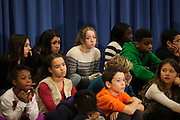 NYC Public School students watch as Mayor-Elect Bill de Blasio announces his appointment of Carmen Fariña as Schools Chancellor at William Alexander Middle School in Park Slope, Brooklyn, NY on Monday, Dec. 30, 2013.<br /> <br /> CREDIT: Andrew Hinderaker for The Wall Street Journal<br /> SLUG: NYSTANDALONE