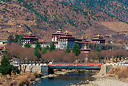 Tashichho Dzong and road bridge, Thimpu, Bhutan
