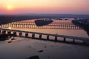 Bridges at sunset on the Susquehanna River. Aerial Photograph Pennsylvania