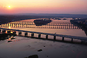 Bridges at sunset on the Susquehanna River. Aerial Photograph Pennsylvania