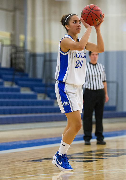 Appalonia Tankersley of Colby College shoots during a NCAA Division III college basketball game between Colby College and Fisher College at the The Whitmore-Mitchell Court at Wadsworth Gymnasium, November 27, 2012 in Waterville, ME. (Dustin Satloff/Colby College Athletics)