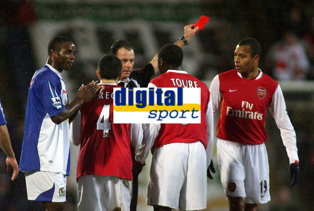 Photo: Paul Thomas.<br /> Blackburn Rovers v Arsenal. The Barclays Premiership. 13/01/2007.<br /> <br /> Referee Rob Styles (Black) sends off Gilberto Silva (R) for foul play on Blackburns Robbie Savage, while Blackburn's Aaron Mokoena (L) claps the decision.
