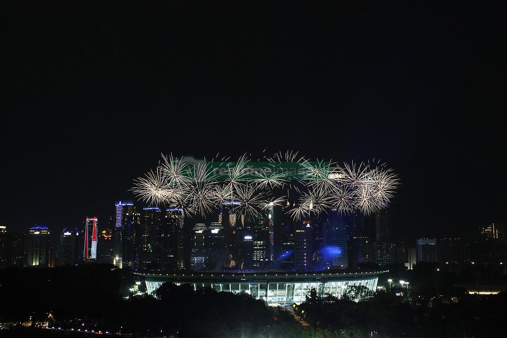 August 18, 2018 - Jakarta, Capital Region of Jakarta, Indonesia - Fireworks explode over the Gelora Bung Karno main stadium during the opening ceremony of the 2018 Asian Games in Jakarta on August 18, 2018. (Credit Image: © Aditya Irawan/NurPhoto via ZUMA Press)