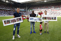 (L-R) Hector Moreno, Jetro Willems, Andres Guardado during the Dutch Eredivisie match between PSV Eindhoven and Roda JC Kerkrade at the Phillips stadium on August 27, 2017 in Eindhoven, The Netherlands