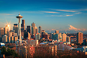 Seattle from Kerry Park on winter evening