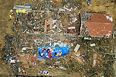 Aerial view of damaged houses from Tornado