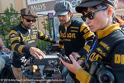 Shinya Kimura, Yoshimasa Nimi and Ayu Yamakita at the start of the Motorcycle Cannonball Race of the Century. Stage-1 from Atlantic City, NJ to York, PA. USA. Saturday September 10, 2016. Photography ©2016 Michael Lichter.