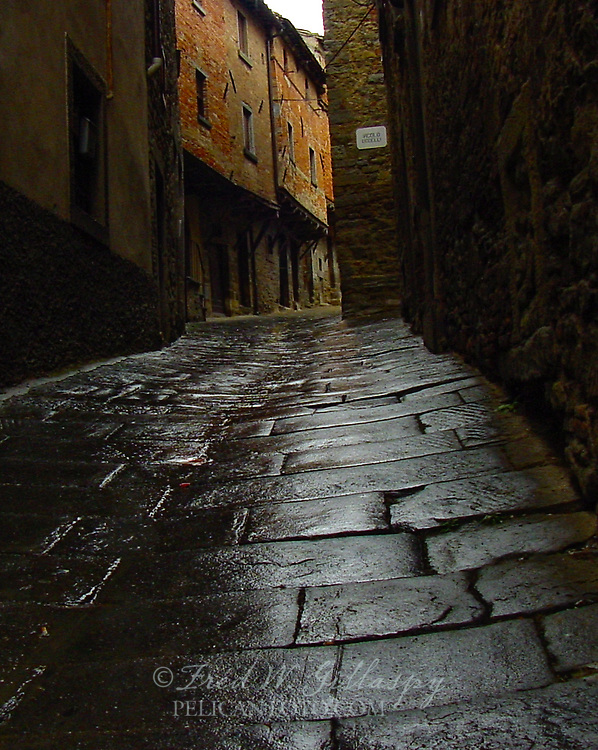 Lonely alley on a rainy day in Cortona