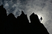 A climber ascends the rock columns at Frenchman's Coulee near Vantage, in Grant County, Washington.<br />