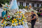 "A float made to honour ""La Divina Matrimonia"" made by the Patient First Medical Centre for the Grand Marian Parade in Intramuros, Metro Manila, Philippines. The Intramuros Grand Marian Procession is an annual procession on the first Sunday of December that honours the Feast of the Immaculate Conception."