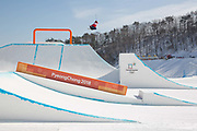 Tyler Harding, Great British freeskier, during slopestyle practice at the Pyeongchang 2018 Winter Olympics on February 15th 2018, at the Phoenix Snow Park in Pyeongchang-gun, South Korea.