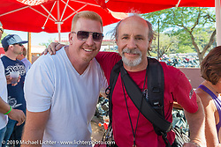 Michael Lichter with Paul Yaffe at the Hideaway Grill in  in Cavecreek, AZ during Arizona Bike Week. USA. April 6, 2014.  Photography ©2014 Michael Lichter.