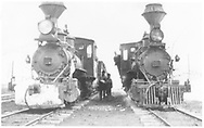 """Two RGS class 60 locomotives with one heading up a freight and the other one probably a helper.<br /> RGS  Peake, CO  <br /> In book """"Rio Grande Southern, The: An Ultimate Pictorial Study"""" page 69"""