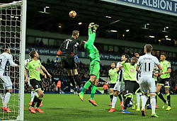 25 February 2017 - Premier League - West Bromwich Albion v AFC Bournemouth - Ben Foster of West Bromwich Albion makes a crucial last minute save as opposing keeper Artur Boruc of AFC Bournemouth tries to score - Photo: Paul Roberts / Offside