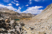 Bishop Lake from the Bishop Pass Trail, John Muir Wilderness, Sierra Nevada Mountains, California USA