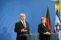 DEU, Deutschland, Germany, Berlin, 06.12.2012:<br />Der israelische Ministerpräsident Benjamin Netanjahu (L) und Bundeskanzlerin Angela Merkel (R) (CDU) während einer Pressekonferenz im Bundeskanzleramt.