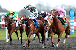Inn The Bull ridden by Tom Marquand goes onto win the Matchbook Casino Handicap during the Easter Family Fun Day at Kempton Park Racecourse.