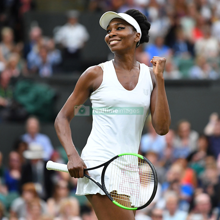 July 11, 2017 - London, United Kingdom - VENUS WILLIAMS of USA celebrates her 6-2, 6-3 win over A. Konjuh on Day 8 of the Wimbledon Championships, at the All England Lawn Tennis Club. (Credit Image: © Panoramic via ZUMA Press)