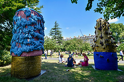 """© Licensed to London News Pictures. 05/07/2017. London, UK. """"Untitled"""", 2016, by Takuro Kuwata.  The Frieze Sculpture festival opens to the public in Regent's Park.  Featuring outdoor works by leading artists from around the world the sculptures are on display from 5 July to 8 October 2017.  Photo credit : Stephen Chung/LNP"""