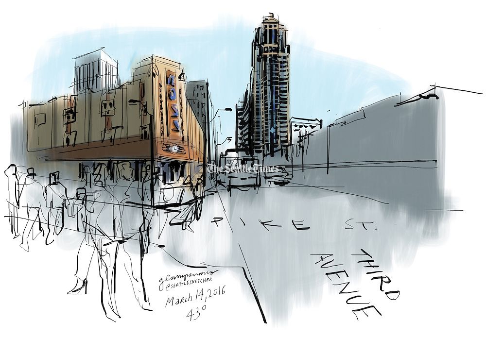 Woolworth and WaMu. The legendary Seattle institutions no longer exist, but the buildings they once occupied on Third Avenue caught the Seattle Sketcher's eye. (Gabriel Campanario / The Seattle Times)