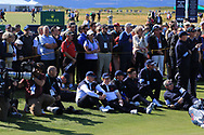 Some of the GB&I at the 18th green during Day 2 Foursomes of the Walker Cup, Royal Liverpool Golf CLub, Hoylake, Cheshire, England. 08/09/2019.<br /> Picture Thos Caffrey / Golffile.ie<br /> <br /> All photo usage must carry mandatory copyright credit (© Golffile   Thos Caffrey)