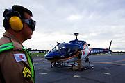 Belo Horizonte_MG, Brasil...Hangar do CORPAER (Comando de Radio Patrulhamento Aereo da Policia Militar)...The helicopter hangers of CORPAER, (The Company Radio Patrol Air of Military Police)...Foto: BRUNO MAGALHAES / NITRO