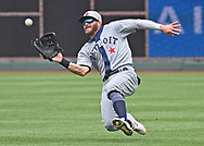 Detroit Tigers right fielder Robbie Grossman (8) makes a sliding catch during the fourth inning against the Kansas City Royals at Kauffman Stadium.