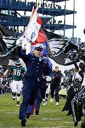 Military Personnel lead The Philadelphia Eagles onto the field before the NFL Game between the Indianapolis Colts and the Philadelphia Eagles. The Eagles won 26-24 at Lincoln Financial Field in Philadelphia, Pennsylvania on Sunday November 7th 2010. (Photo By Brian Garfinkel)