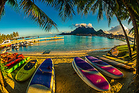 Kayaks, Four Seasons Resort Bora Bora, Motu Tehotu, Bora Bora, French Polynesia.