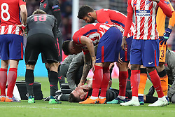 May 3, 2018 - Madrid, Spain - LAURENT KOSCIELNY of Arsenal FC reacts after being injured during the UEFA Europa League, semi final, 2nd leg football match between Atletico de Madrid and Arsenal FC on May 3, 2018 at Metropolitano stadium in Madrid, Spain (Credit Image: © Manuel Blondeau via ZUMA Wire)