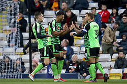 Plymouth Argyle's Jake Jervis(2nd left) celebrates his goal with Plymouth Argyle's Lionel Ainsworth