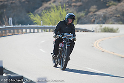 William Story riding his 1913 Excelsior up the steep mountain pass just out of Palm Desert on the Palms to Pines Scenic Byway on the last day of the Motorcycle Cannonball Race of the Century. Stage-15 ride from Palm Desert, CA to Carlsbad, CA. USA. Sunday September 25, 2016. Photography ©2016 Michael Lichter.